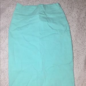 Aqua bodycon stretch pencil skirt